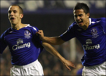 Leon Osman celebrates with Tim Cahill after extending Everton's lead
