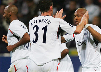 Bolton substitute El Hadj Diouf celebrates after nodding Wanderers into the lead