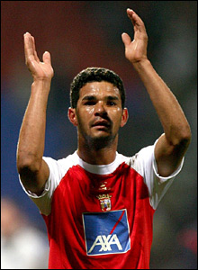 Braga goalscorer Alexandre Jailson celebrates at the final whistle after his late header earns his side a point