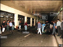 People at the scene with the wreckage of Princess Diana's car