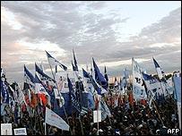 Manifestación partidista en Argentina.