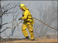 Firefighters tackle blazes in San Diego County