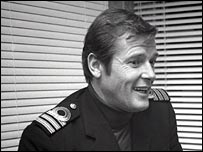 Sir Roger Moore interviewed on set during filming of The Spy Who Loved Me