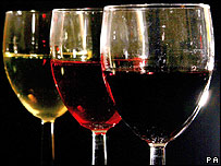 Three glasses of wine (photo: Anthony Devlin/PA Wire)