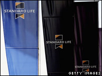 Standard Life branded flags flying in Edinburgh
