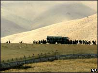 Turkish soldiers are moved to the frontier in a mountainous district of Yuksekova, near the Turkish-Iraqi-Iranian border, on Friday 26 October 2007