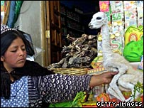 An indigenous woman sells a llama foetus in Witches Street, La Paz, Bolivia