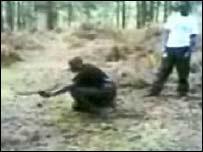 Still from footage of alleged terror camp