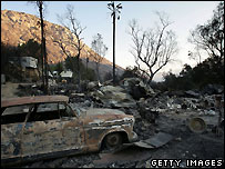 Burnt-out homes at the Barrett Lake Resort Mobile Home Park - 26/10/2007