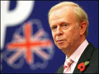 Sir Reg Empey addressed delegates at the UUP conference