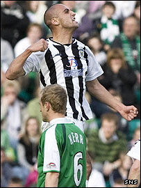 Billy Mehmet celebrates opening the scoring at Easter Road