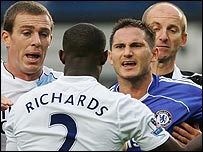 Frank Lampard clashes with Micah Richards