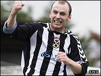 Robert Downs celebrates his goal for Pollok