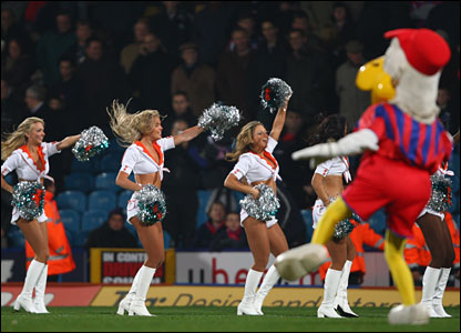 Cheerleaders dance at Selhurst Park