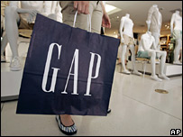 Detail of Gap shopping bag in store - Jan 2007
