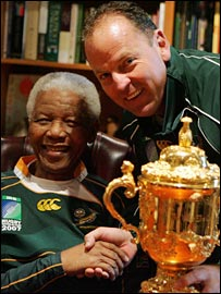 Jake White and Nelson Mandela celebrate South Africa's World Cup win