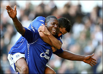 Ayegbeni Yakubu celebrates after scoring Everton's second
