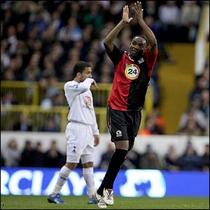 Blackburn's Benni McCarthy celebrates his goal