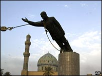 Statue of Saddam Hussein being toppled