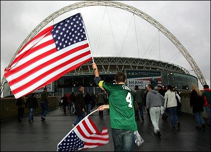 Fans head down Wembley Way