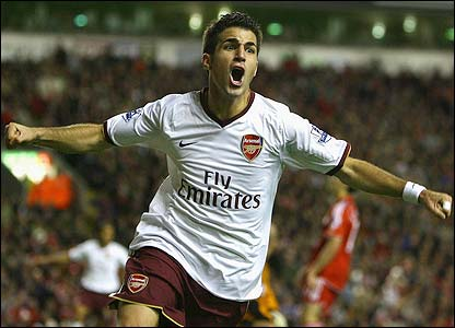 Fabregas celebrates scoring the equaliser for Arsenal
