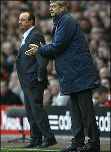 Rafa Benitez and his Arsenal counterpart Arsene Wenger