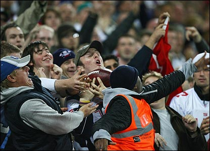 A ball flies into the crowd