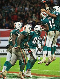 Miami Dolphins celebrate their late touchdown