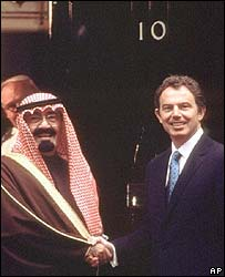 Prince Abdullah (now King Abdullah) with former UK PM Tony Blair, 1998