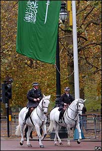 Saudi flag hangs on The Mall, central London (28 October 2007)