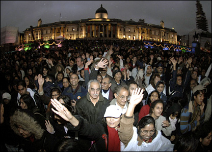 People gather in Trafalgar Square for the Diwali celebrations
