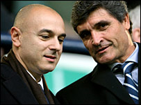 Spurs chairman Daniel Levy and new head coach Juande Ramos