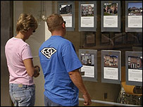 People browsing an estate agent's window