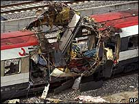 Train carriage destroyed by a bomb in Madrid, 11 March 2004