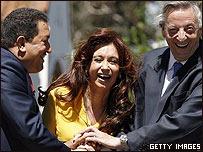 Hugo Ch�vez, Cristina Fern�ndez y N�stor Kirchner