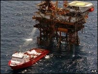 Mexican oil rig in the Gulf of Mexico