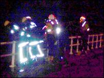 Rescue teams on the promenade on Sunday night. Photo: Susie Powell
