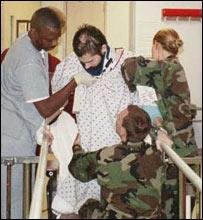 Matthew in hospital during his rehabilitation