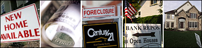 Sales sign in Novato, California (Getty), dollar bills (BBC), foreclosure sign in Antioch, California (Getty), repossession sign in San Clemente, California (AP), home in North Aurora, Illinois (AFP)
