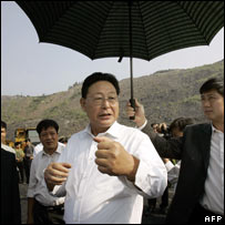 Kim Yong-il on a tour of Nui Beo coal mine in Vietnam, 28/10
