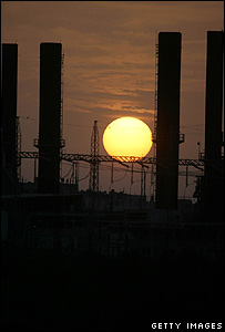 The sun goes down on Gaza's main electricity company  in Khan Younis, 29 October