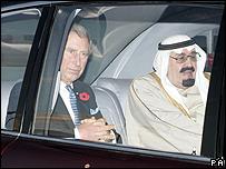 العاهل السعودي والامير تشارلز في السيارة الملكية