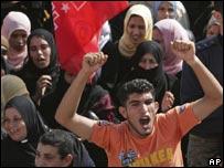 Manifestación de palestinos contra las sanciones impuestas por Israel