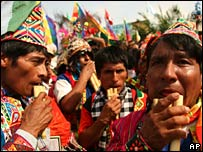 Bolivia's indigenous Quechua people at a gathering (file image)