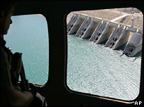 A view of Mosul dam from a helicopter