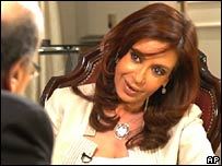 Cristina Kirchner is interviewed on Argentina's Todo Noticias network