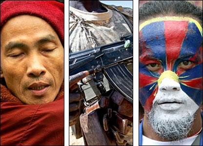 A Burmese monk, a Sudanese rebel and a pro-Tibet independence supporter