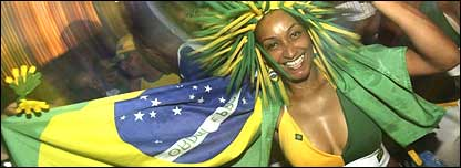Brazil fan sporting national colours