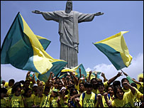 Brazilian children celebrate at the Christ the Redeemer statue in Rio de Janeiro
