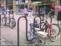 Bicycles chained in the street in Peterborough